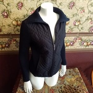 Ribbed knit cotton zip up Sweater w/Quilted front
